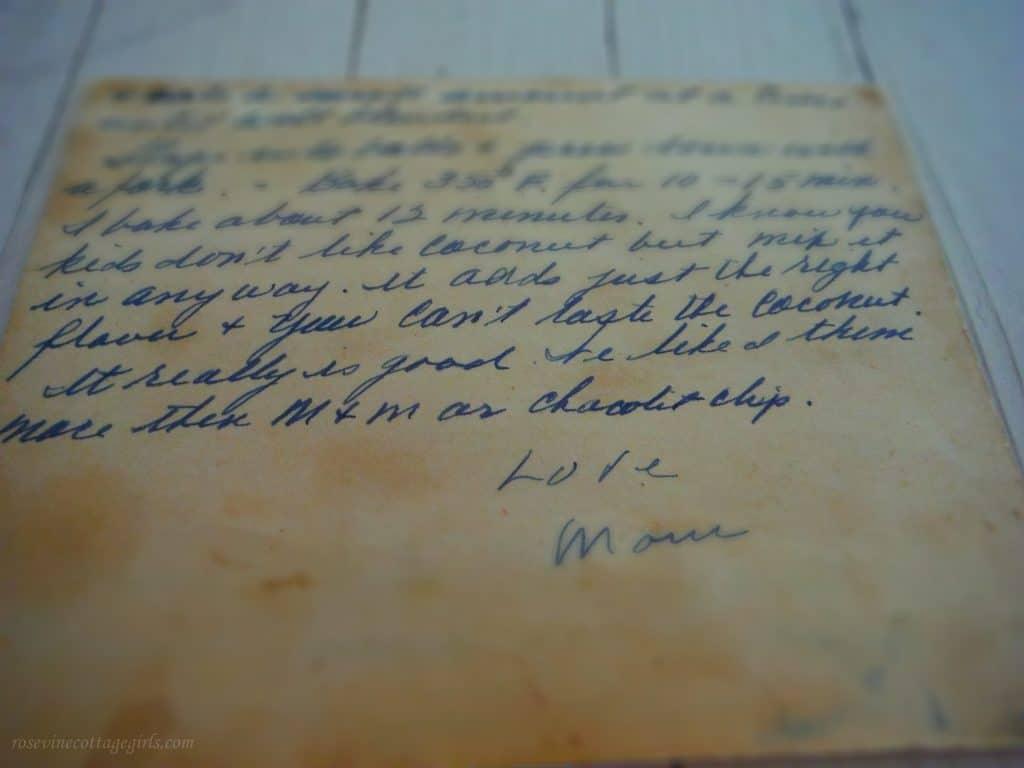hand written recipe by Martha Gibson
