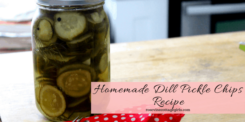 jar of pickles with red polk-a-dot recipe | dill pickle chips recipe