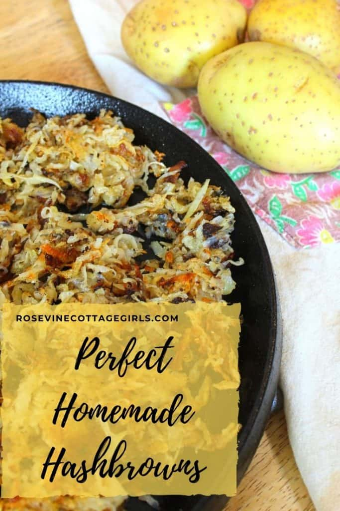 Shredded hash browns in a cast iron pan with a floral apron and whole potatoes | How to make the best homemade shredded hash browns at home