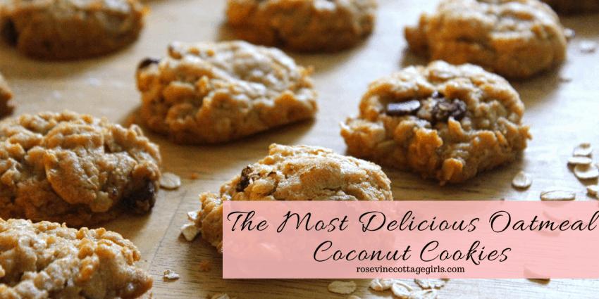Oatmeal Coconut Cookies #rosevinecottagegirls