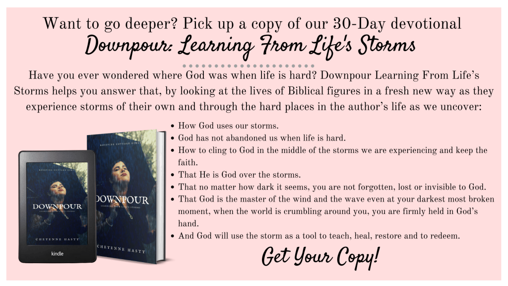 Ad for book - Downpour, learning from life's storms by Cheyenne Hasty