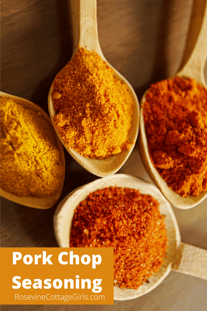 Portrait image of colorful spices in spoons on a counter | Pork chop seasoning | rosevinecottagegirls.com