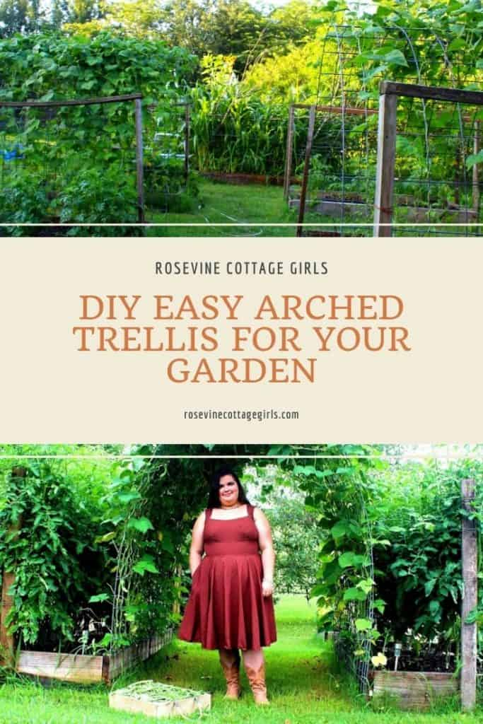 Arched trellis covered in beans with woman standing beneath it |DIY Easy Arched Trellis For Your Garden