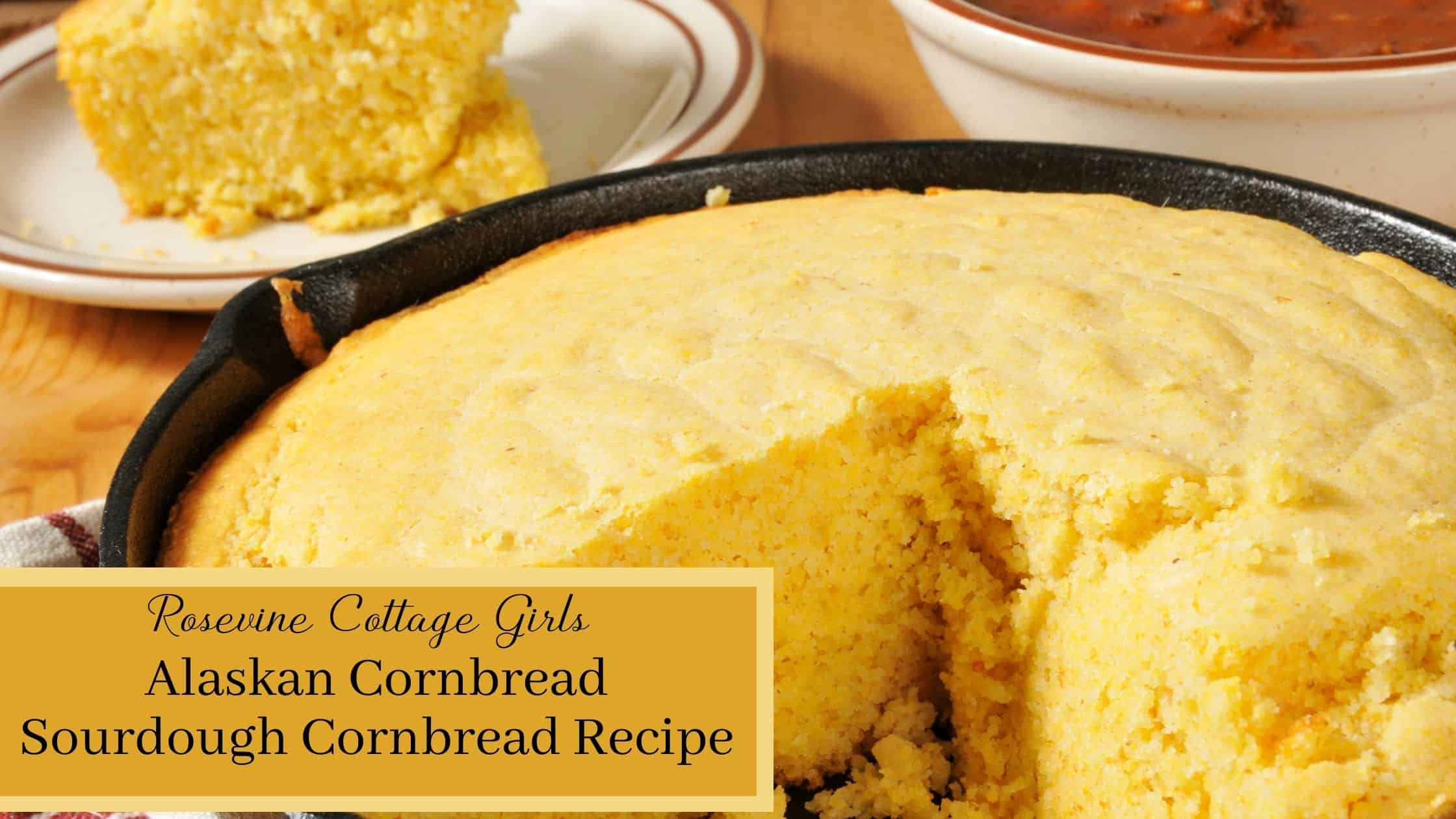 Sourdough Cornbread Recipe | photo of a cast iron dutch oven with sourdough cornbread in it and a slice of cornbread on a plate in the background