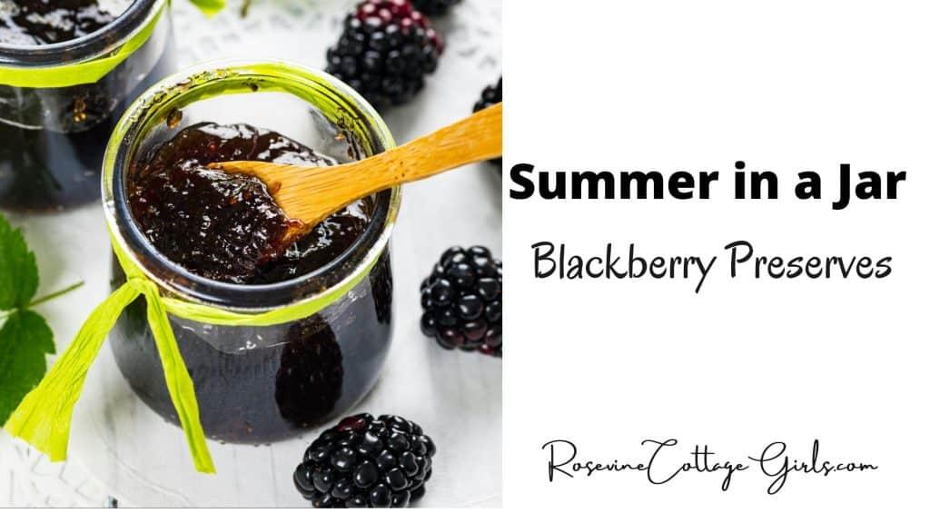 blackberry preserves } jar of delicious blackberry preserves