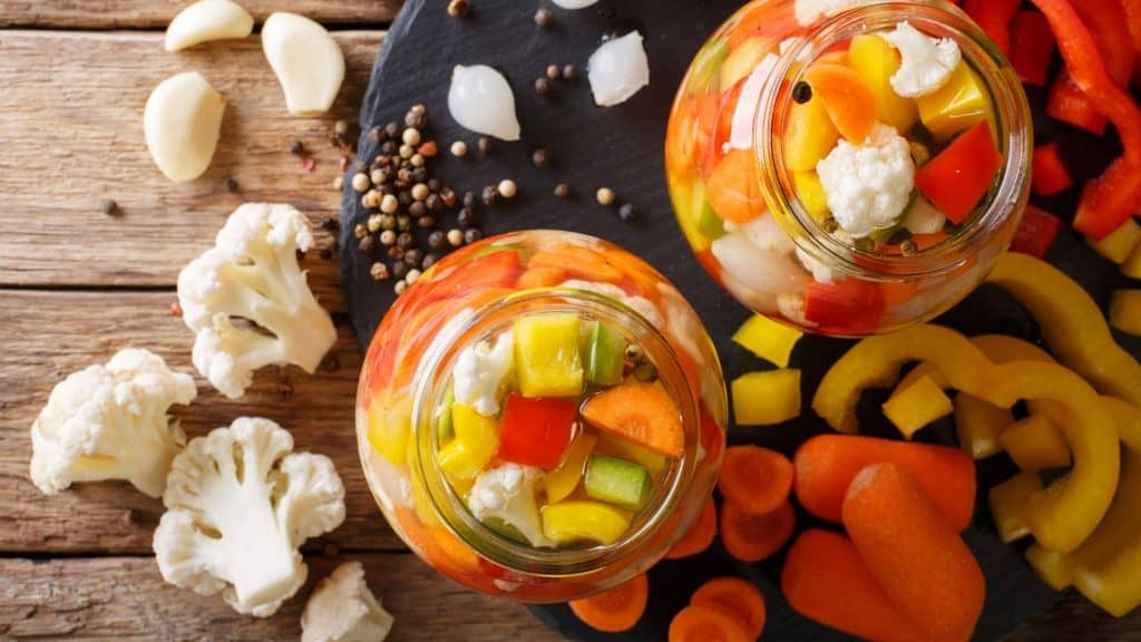 giardiniara | photo of vegetables cut up and being pickled for giardiniara