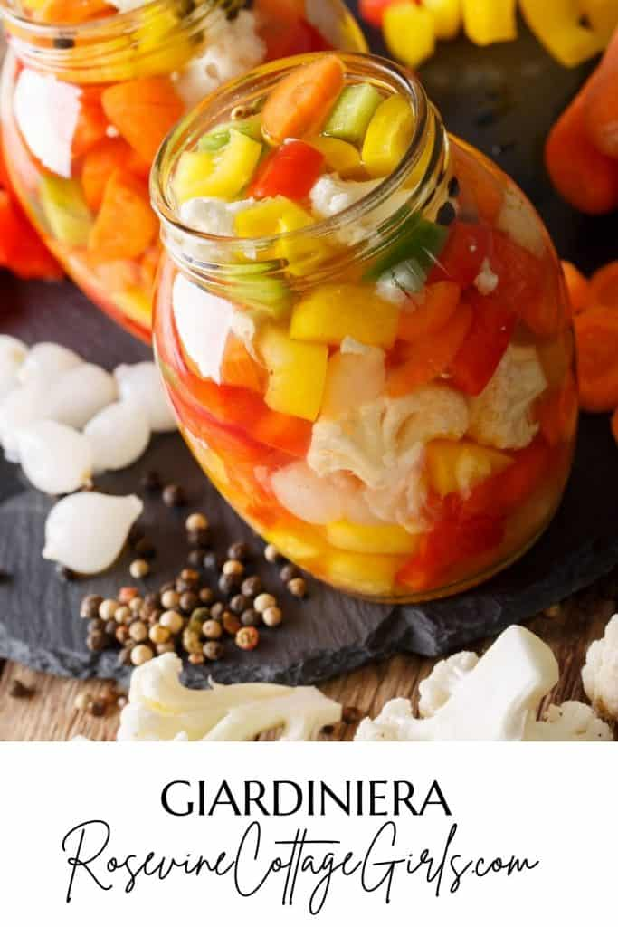 giardiniera pinterest pin   Image of chopped vegetables being pickled into giardiniera to preserve for the winter
