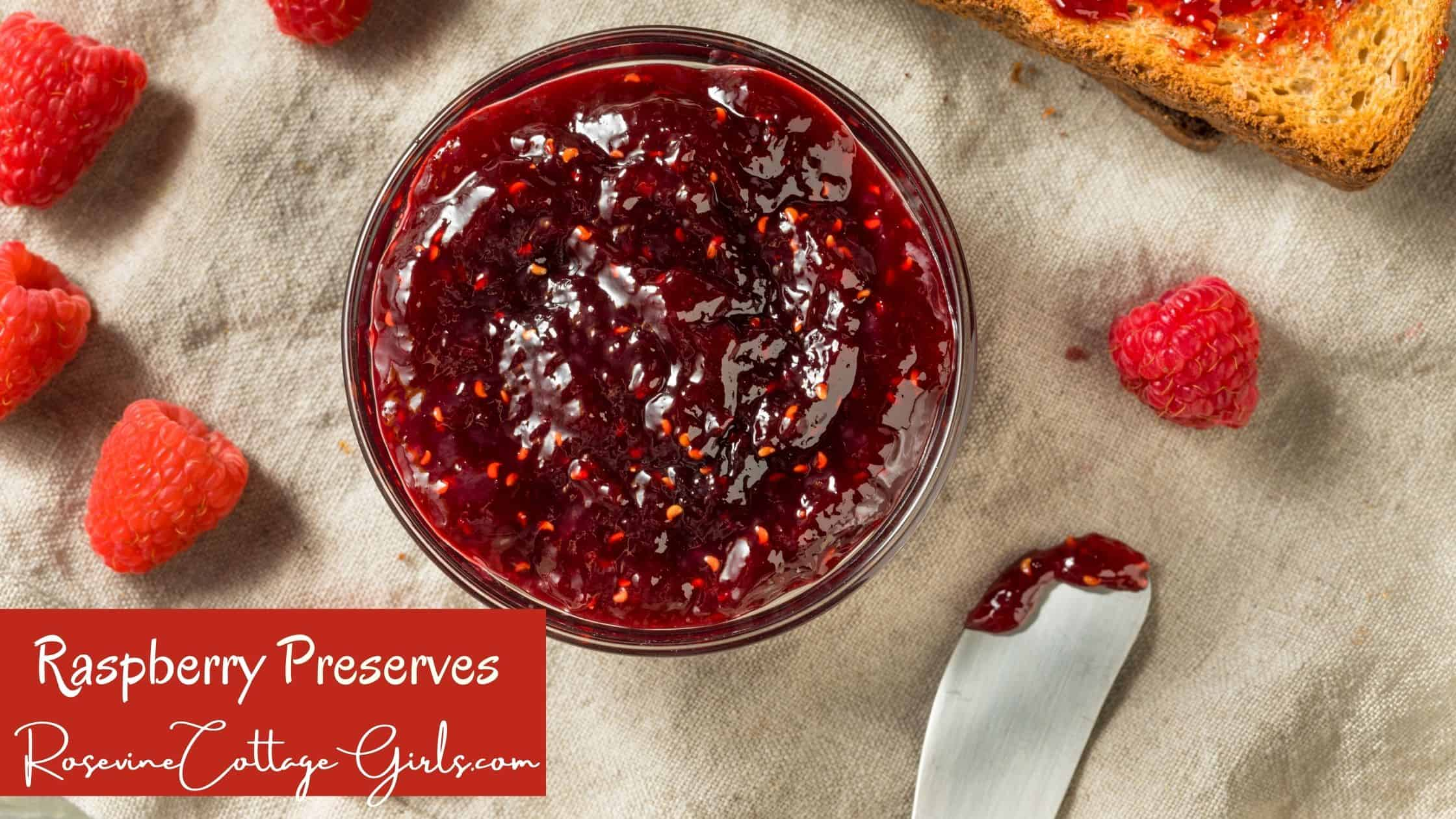 raspberry preserves main photo | photo of a bowl of raspberry preserves