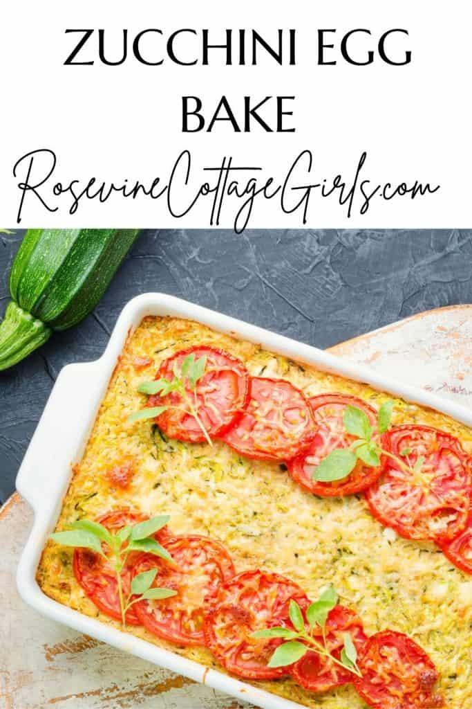 zucchini egg bake | photo of a zucchini egg casserole topped with tomato slices and cilantro