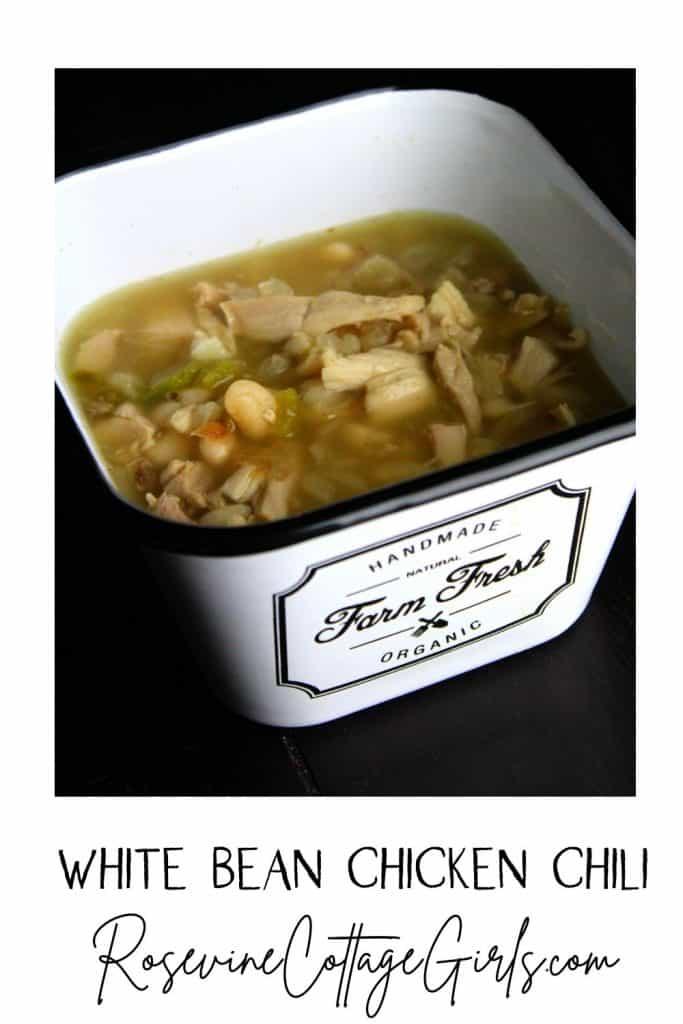 White Bean Chicken Chili in a square bowl