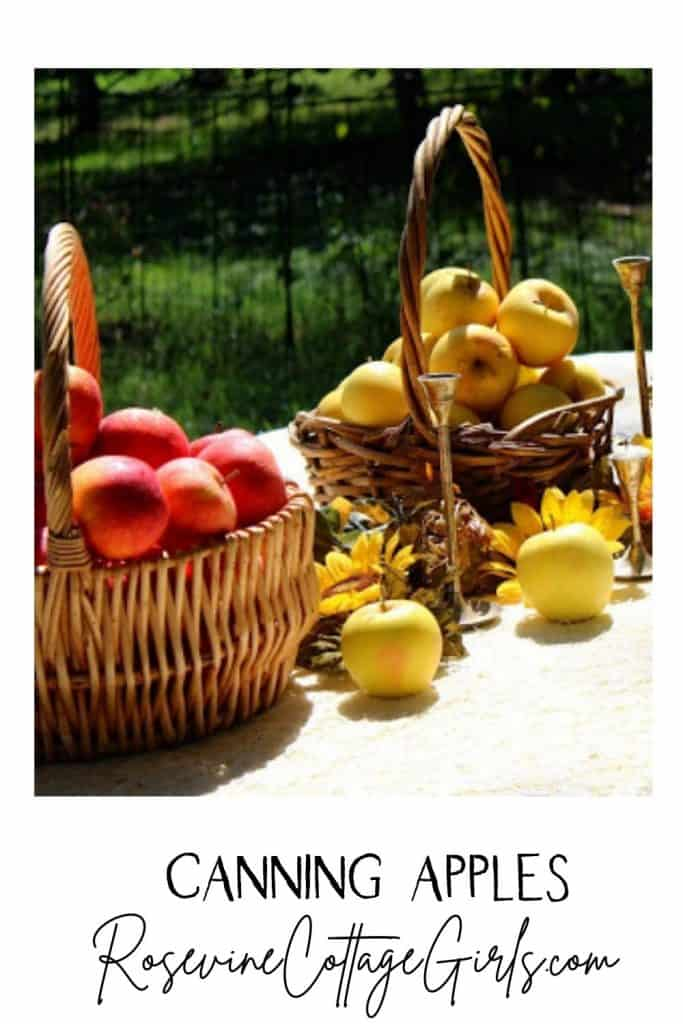 Canning apples pinterest pin 2 | a table with a white cloth and baskets of apples and sunflowers