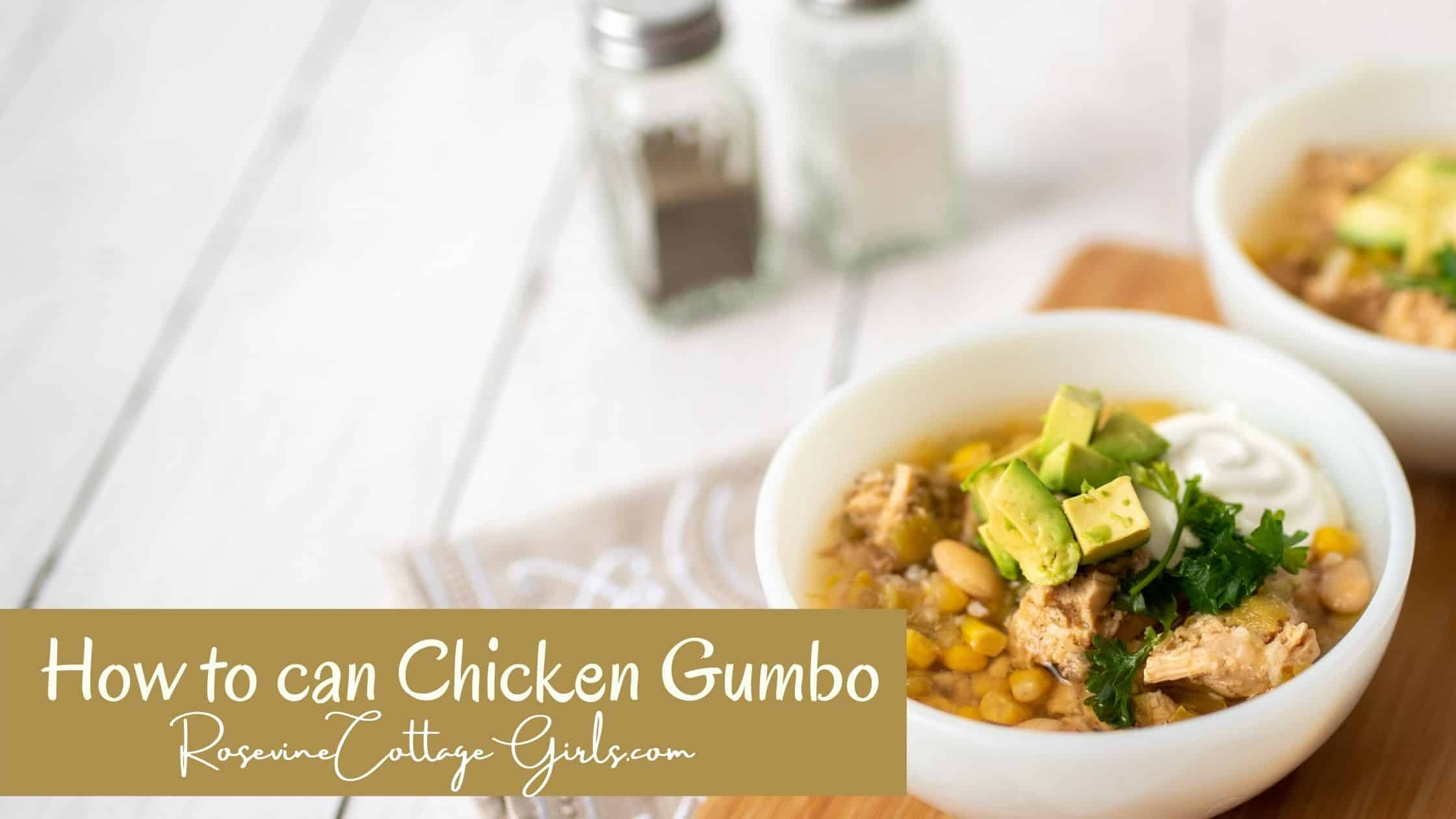 how to can chicken gumbo | Bowl of chicken gumbo soup on a white table with salt and pepper shakers in the background